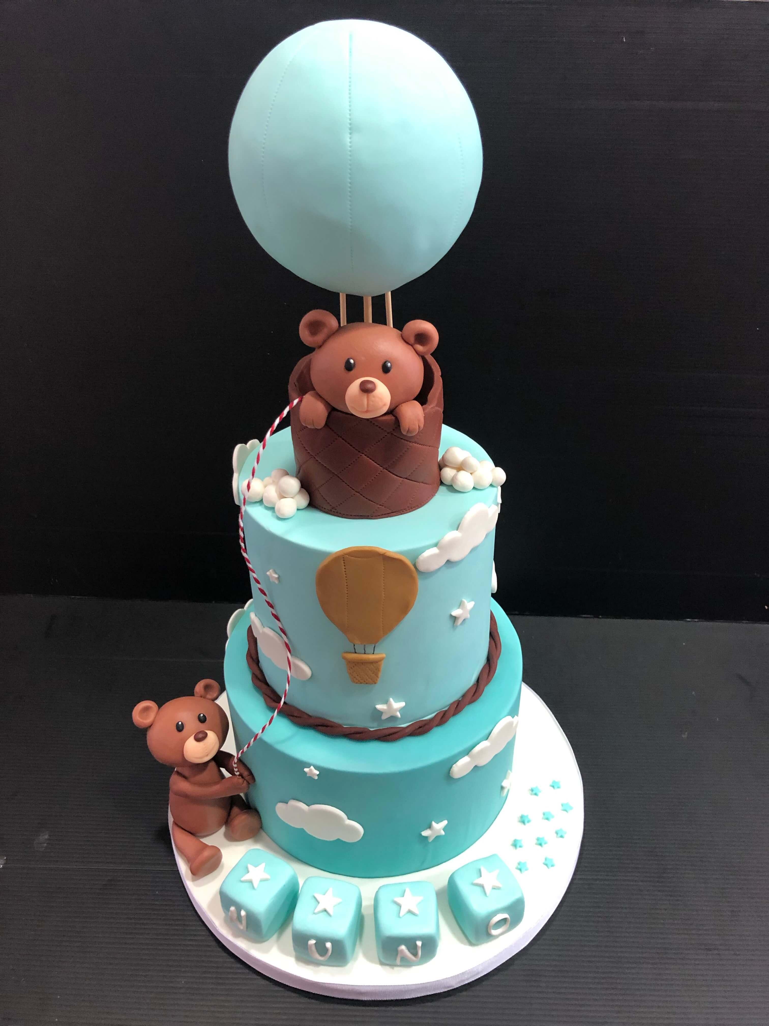 tarta bautizo coruña los postres de kelly personalizada  ositos globo