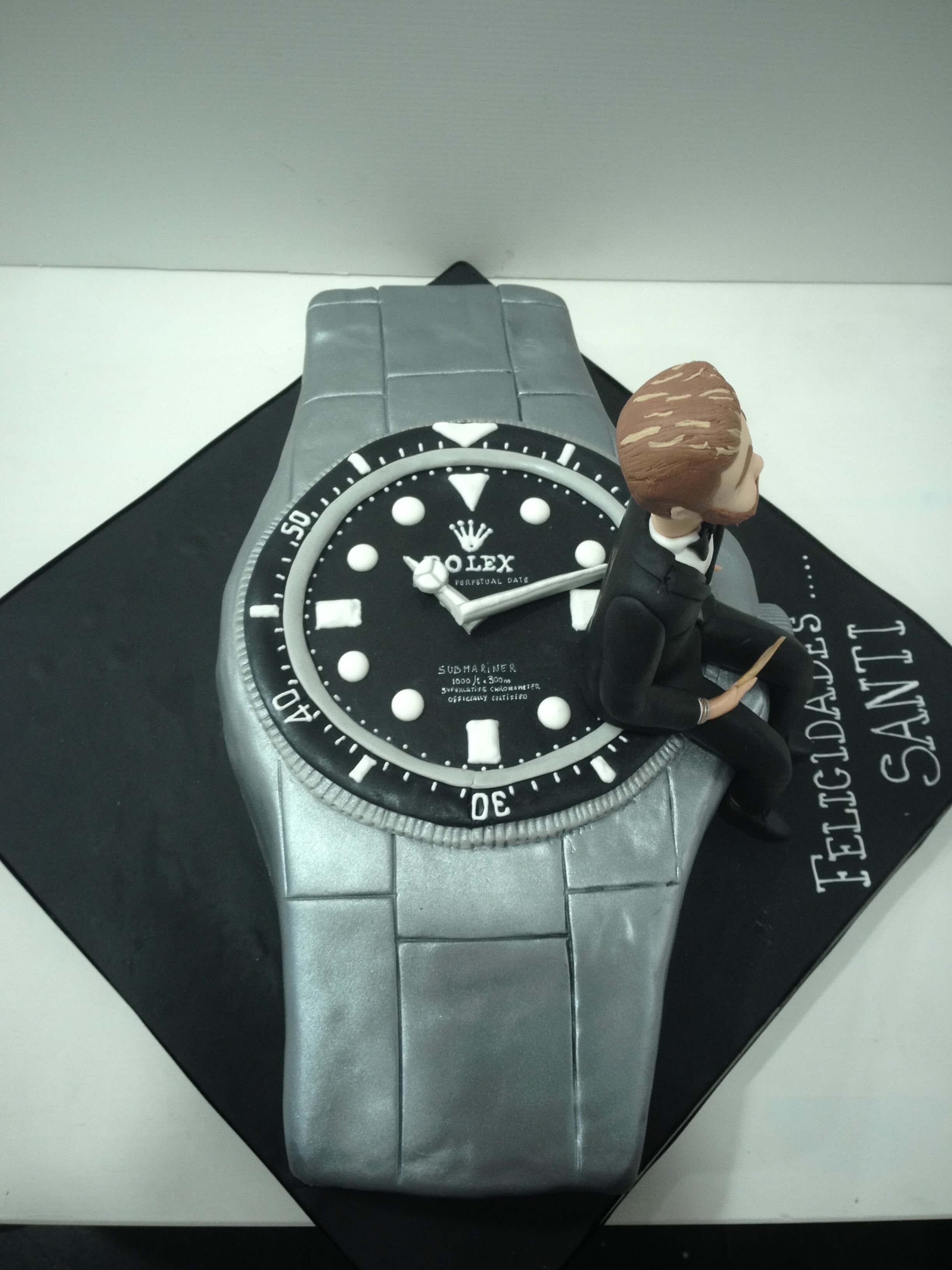 Tarta cumpleaños personalizada fondant Rolex reloj  coruña