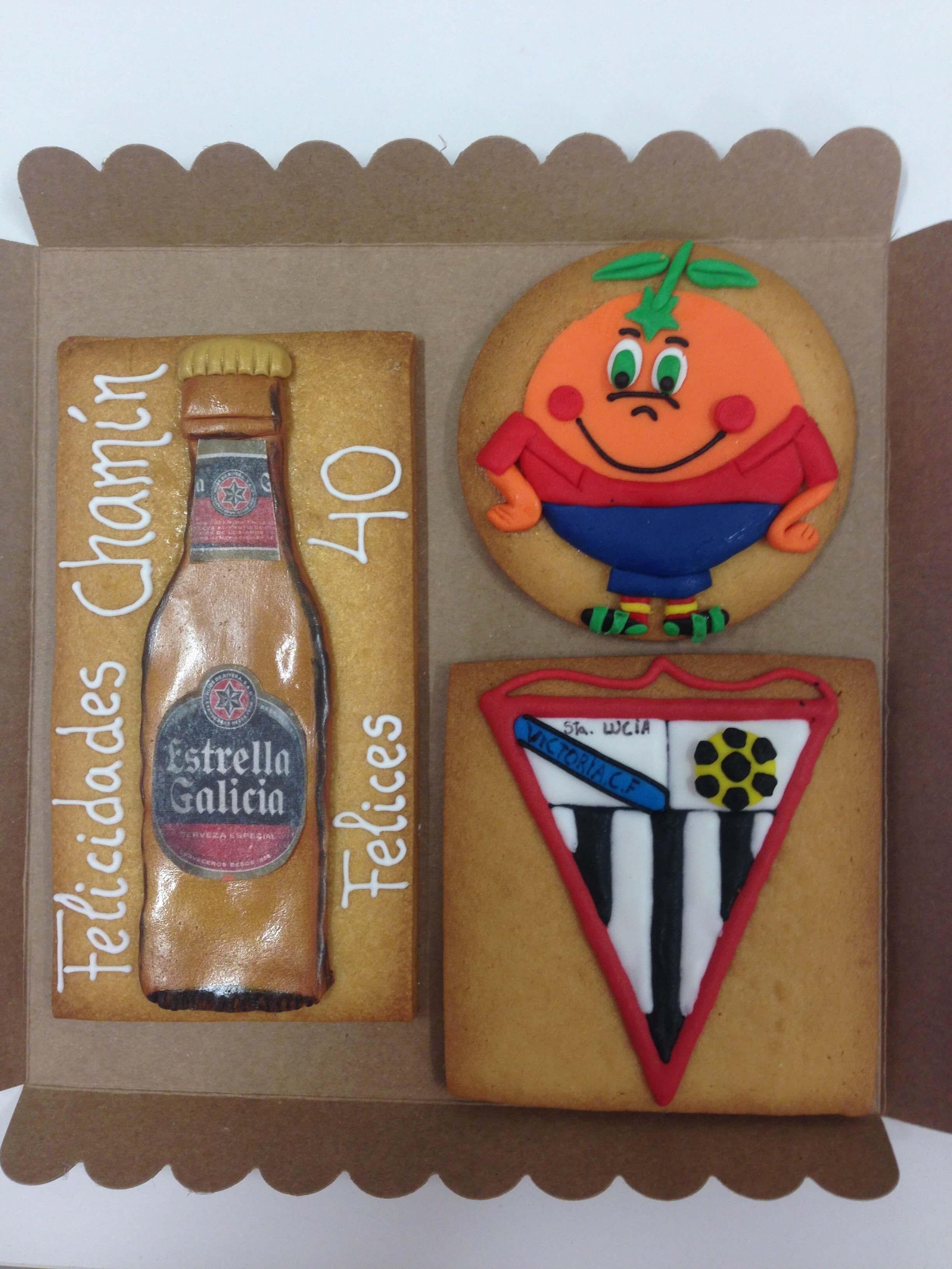 Galletas personalizadas cumpleaños naranjito estrella galicia deportes futbol botella cerveza coruña