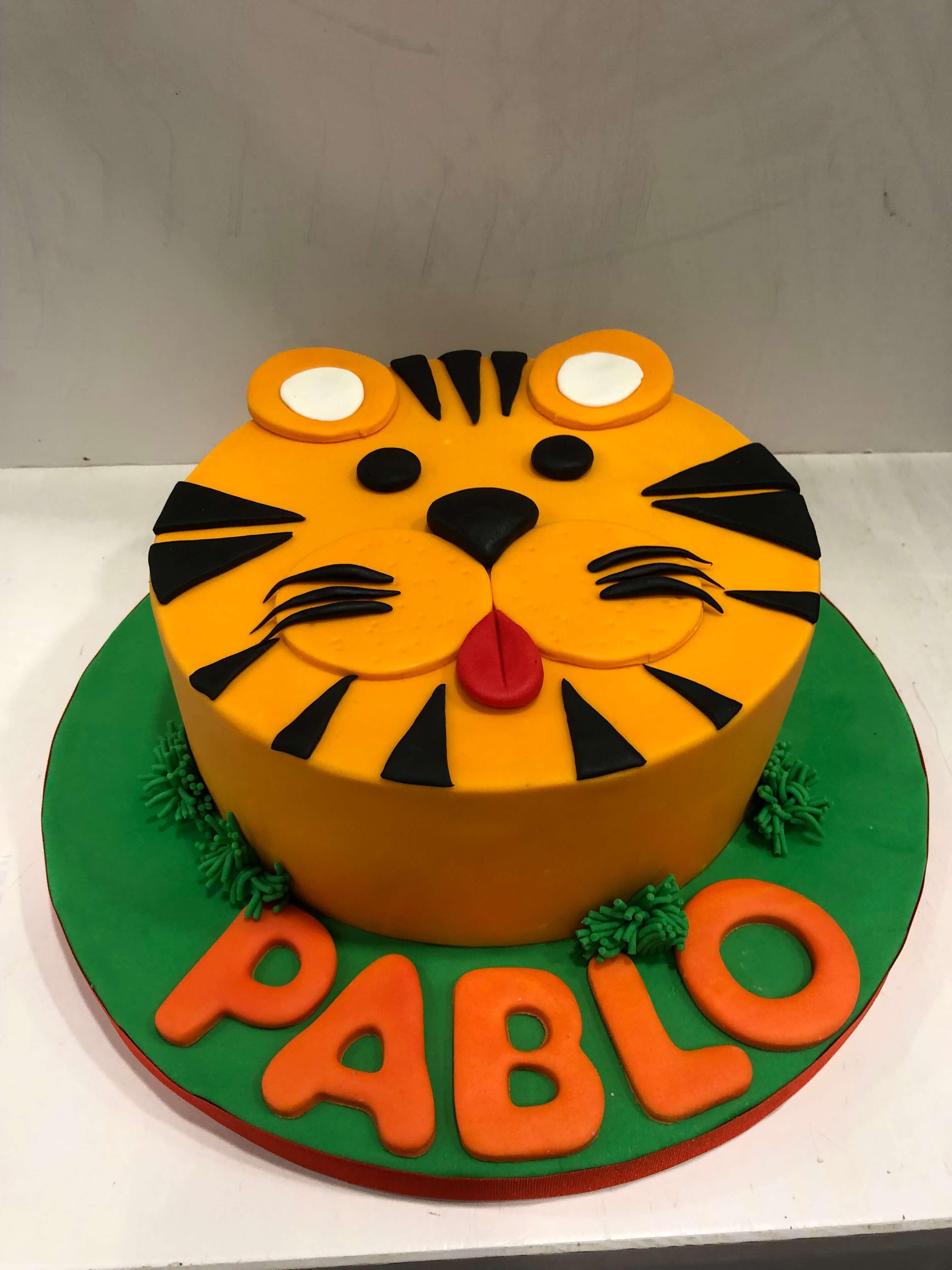 tarta tigre fondant