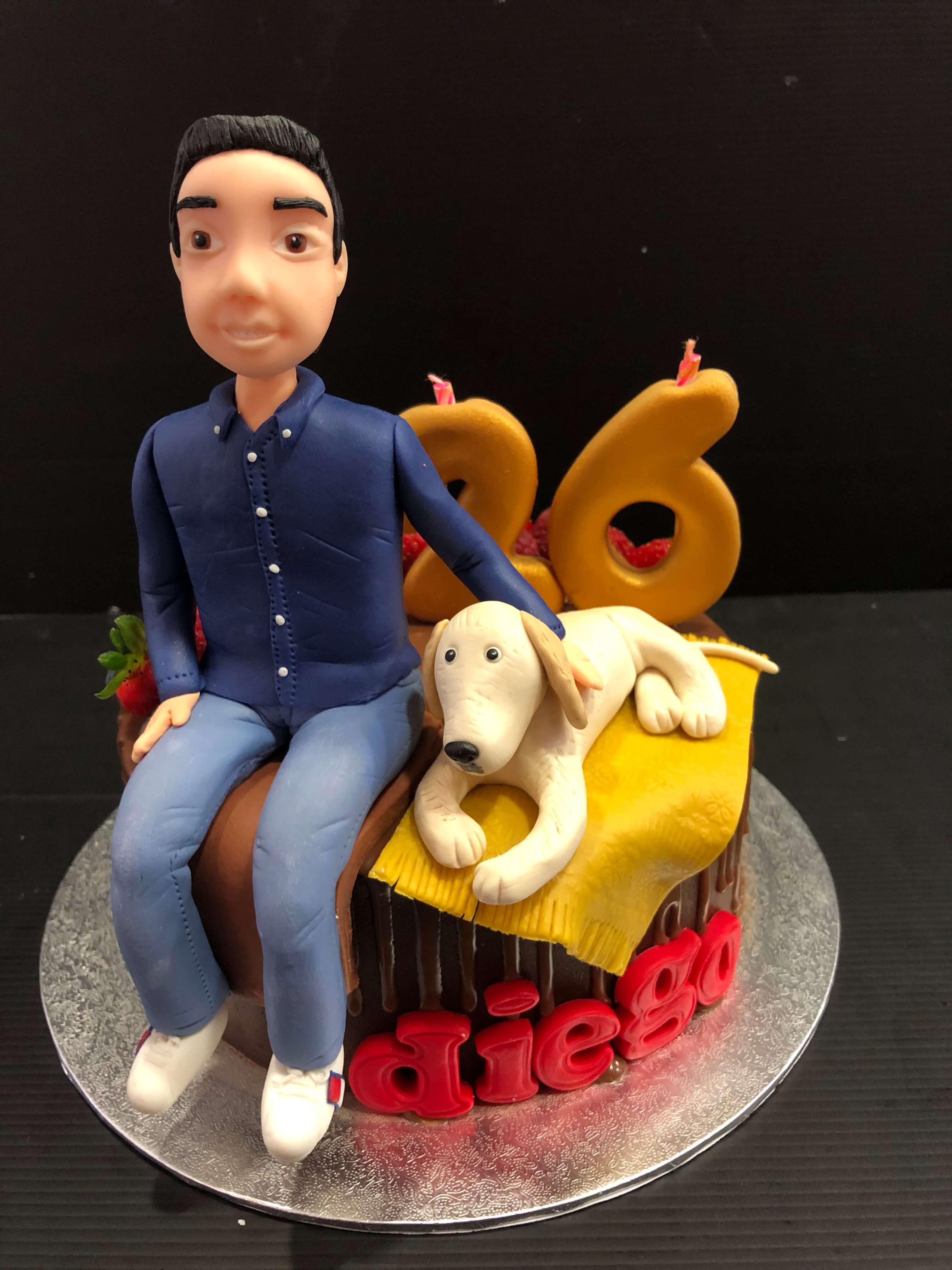 Tarta cumpleaños fondant chico perro coruña