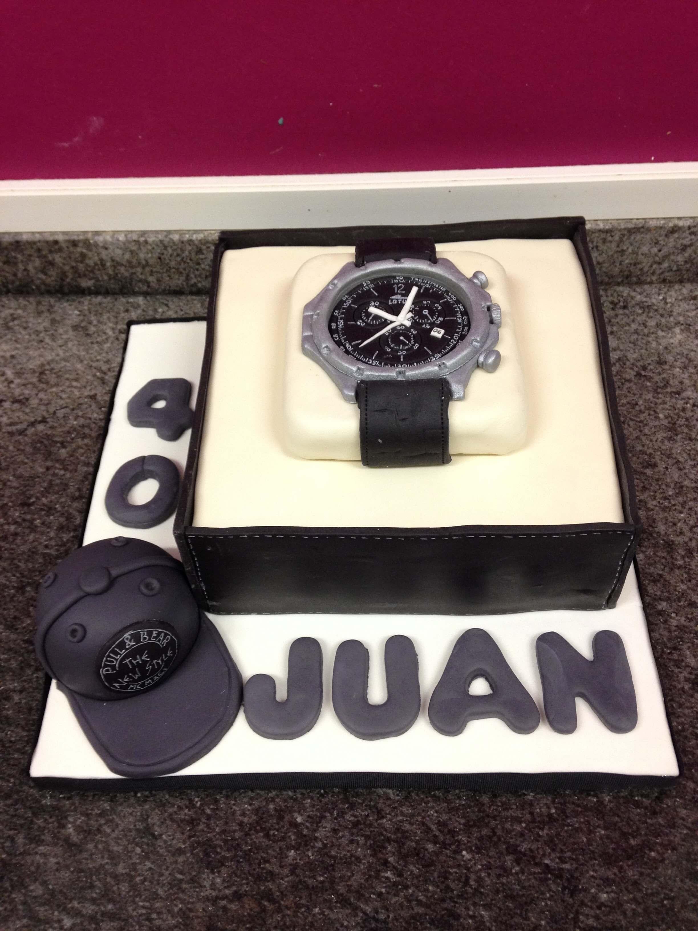Tarta cumpleaños personalizada fondant reloj  coruña