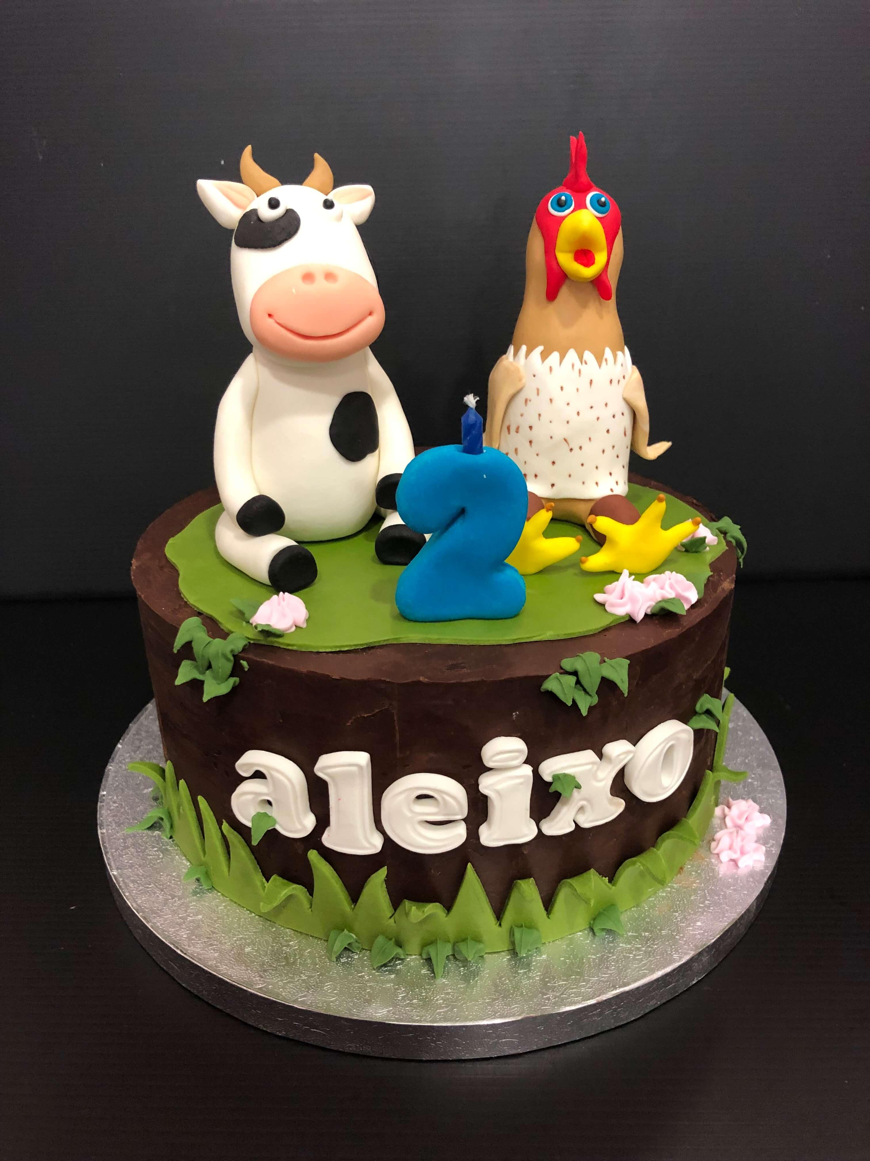 tarta animales granja vaca gallina