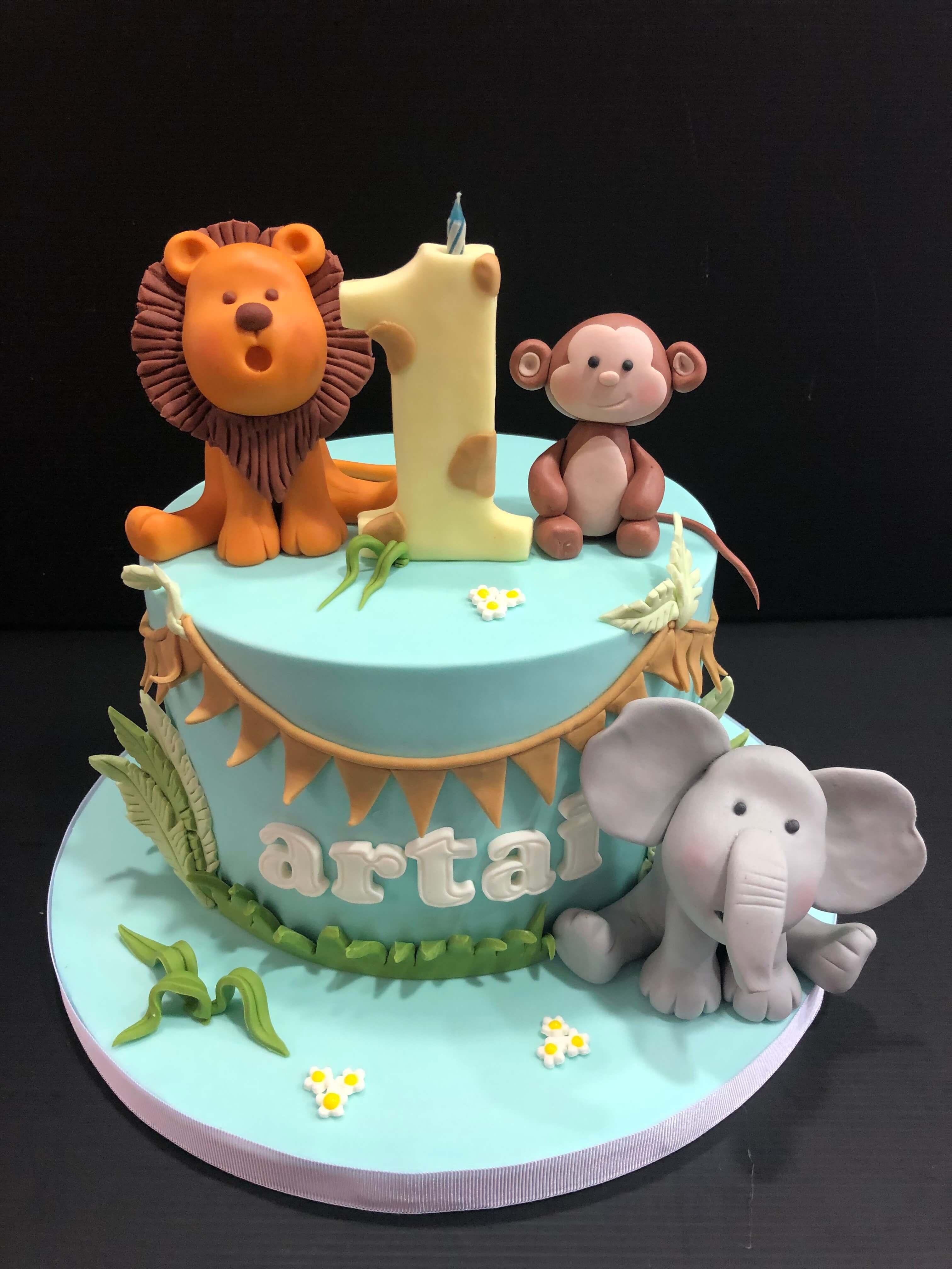 tarta animales selva primer año fondant