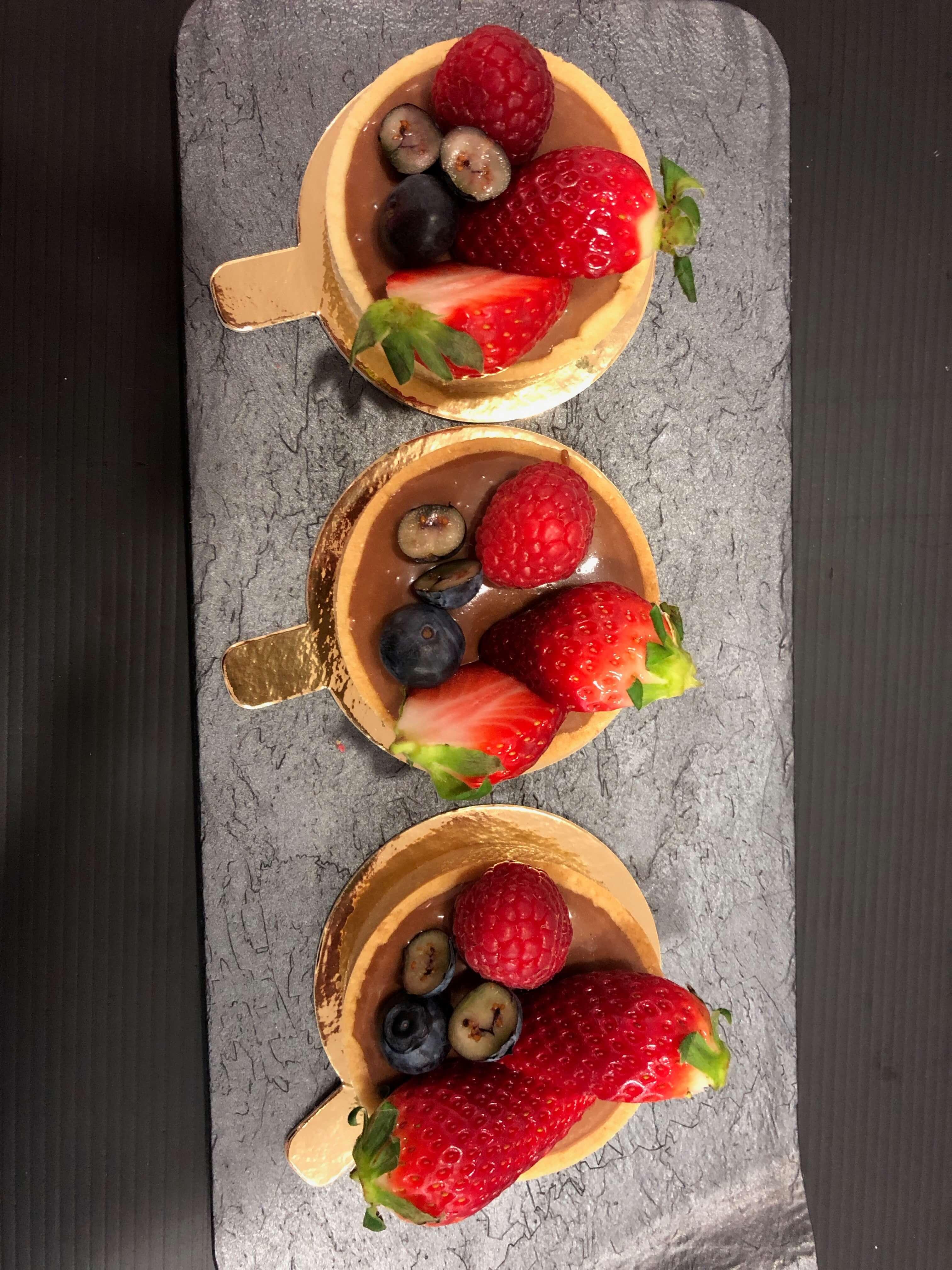 Mini tartas frutas chocolate Coruña