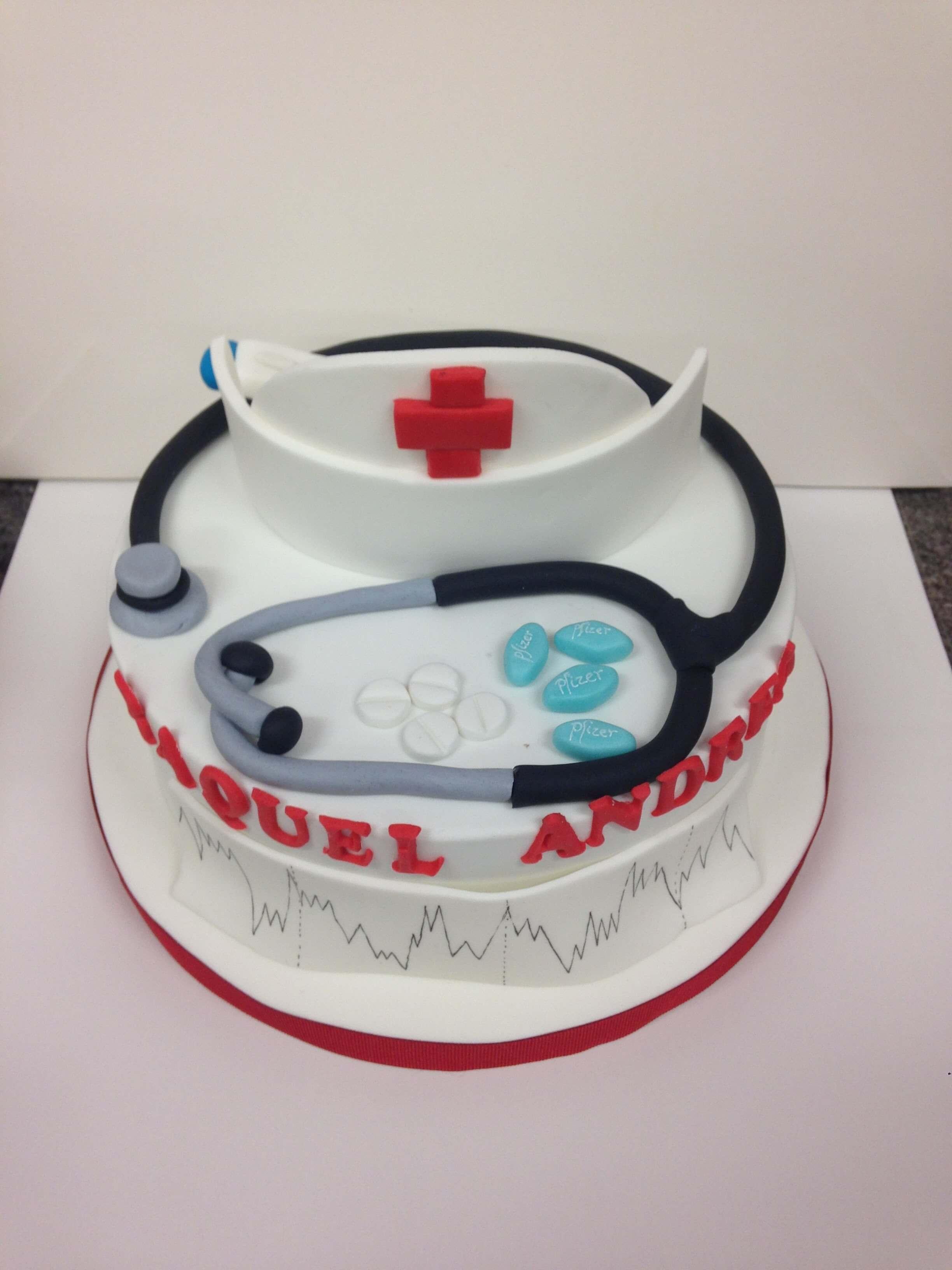 Tarta cumpleaños Fondant hospital enfermera coruña