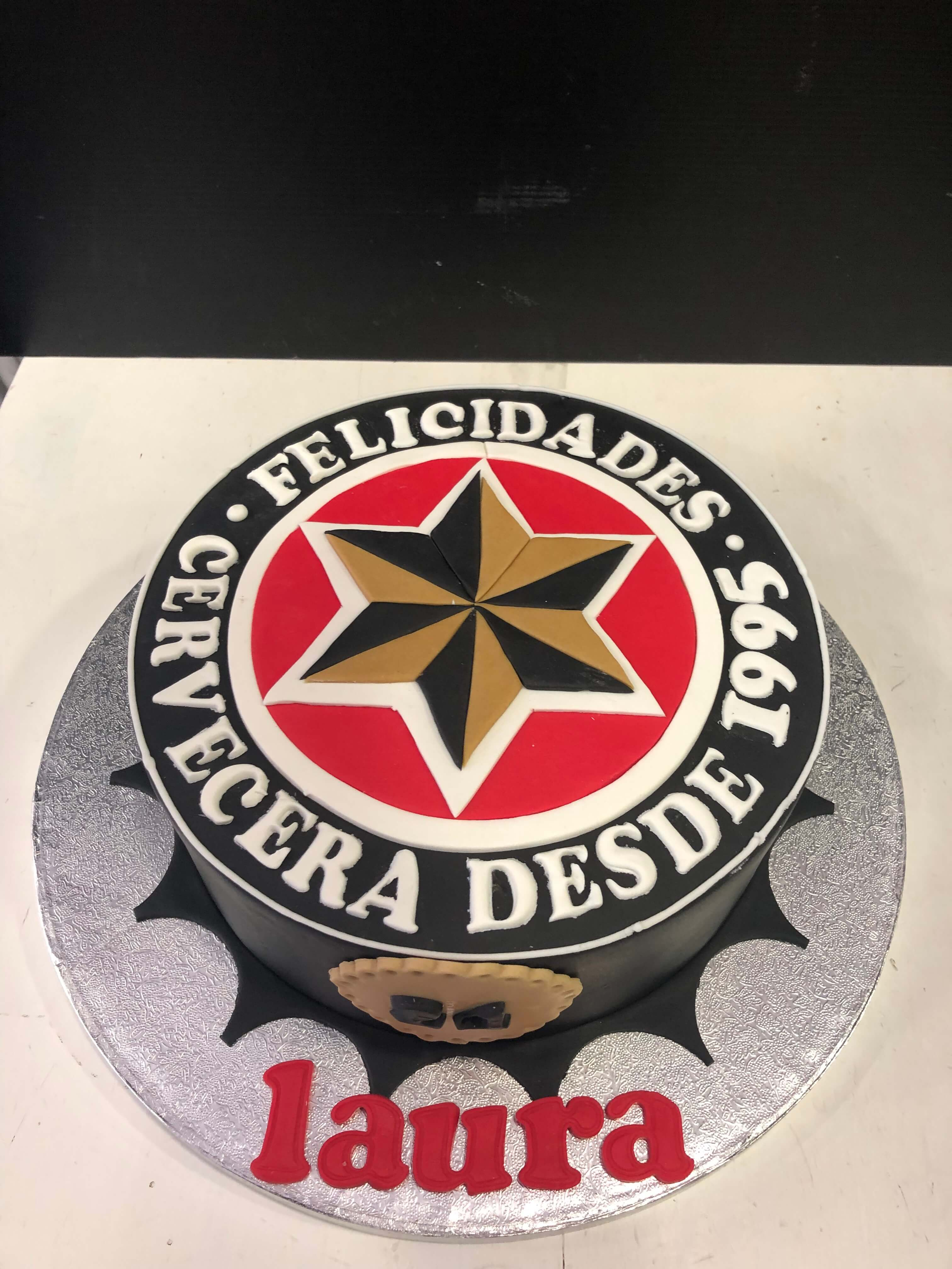 Tarta estrella Galicia chapa coruña cerveza