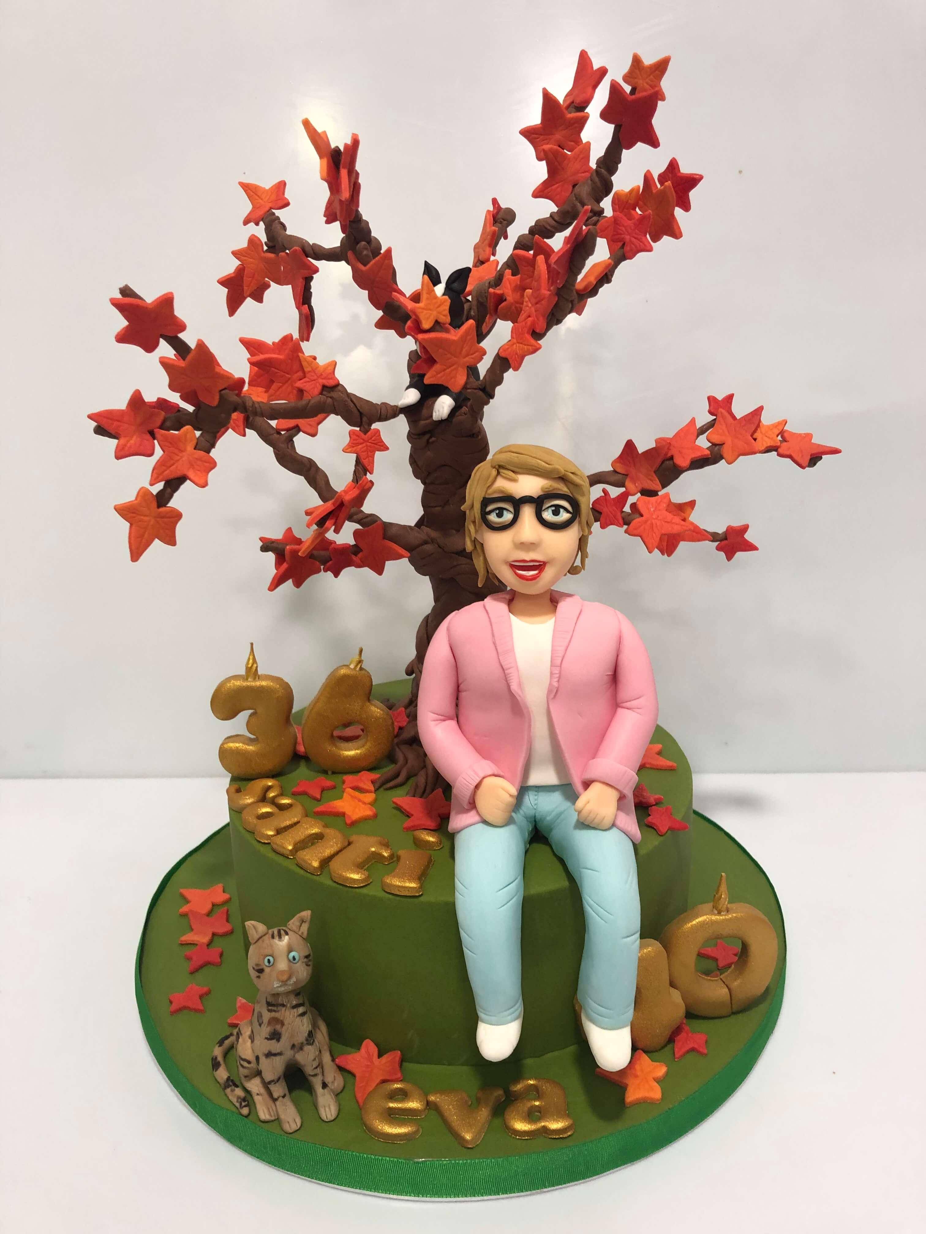 Tarta personalizada fondant cumpleaños bonsai figura personalizada mujer coruña