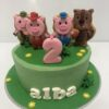 Tarta cumpleaños los tres cerditos y el lobo coruña decorada galletas fondant